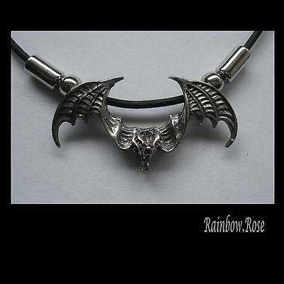 Choker #1249 BAT WINGS OUT (43mm x 22mm) GOTH Rubber Necklace PENDANT