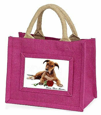 Lurcher with Rose 'Love You Mum' Little Girls Small Pink Shopping, AD-LU2RlymBMP