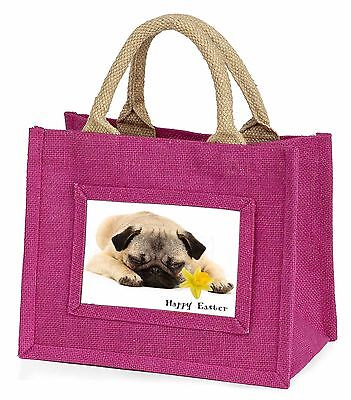 'Happy Easter' Pug Dog Little Girls Small Pink Shopping Bag Christ, AD-P92DA1BMP