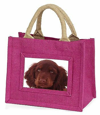 Chocolate Spaniel Puppy Little Girls Small Pink Shopping Bag Christm, AD-SC27BMP