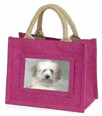 White Tibetan Terrier Dog Little Girls Small Pink Shopping Bag Christ, AD-TT1BMP