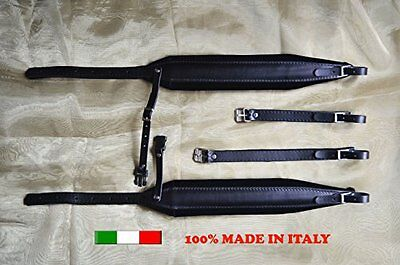 Accordion straps leather with black velour padding 8CM 100% made in Italy