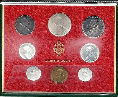 Vatican 1963 8 Coin Set First Year of Issue 500 Lire Silver Coin UNC!