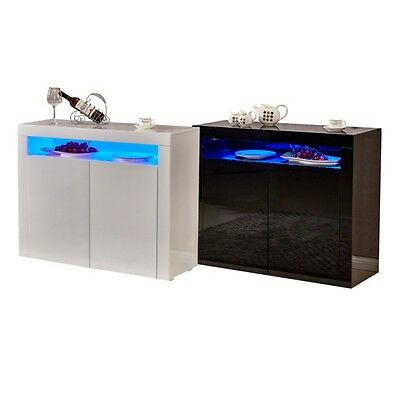 Modern High Gloss Sideboard Storage Cabinet Cupboard with RGB LED Lighting