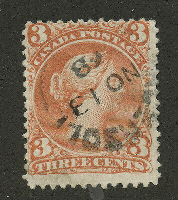 Canada 1868 Large Queen 3c red Bothwell Paper #25viii dated CDS cancel