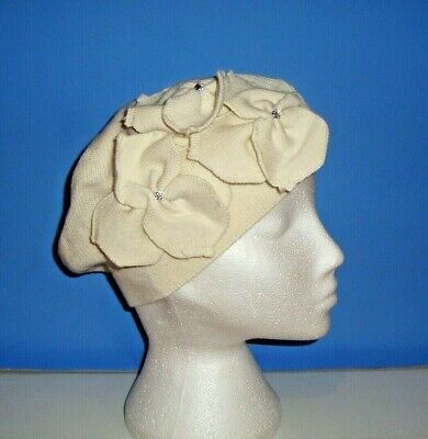 Alice Hannah Cotton Cream Beret Hat with Flower (3151)