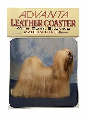 Lhasa Apso Dog Single Leather Photo Coaster Animal Breed Gift, AD-LA1SC