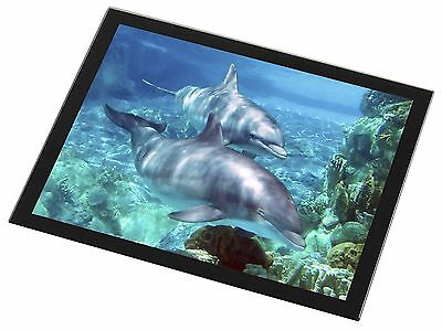 Dolphins Black Rim Glass Placemat Animal Table Gift, AF-D3GP