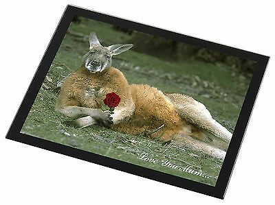 Kangaroo+Rose 'Love You Mum' Black Rim Glass Placemat Animal Table G, AK-1RlymGP