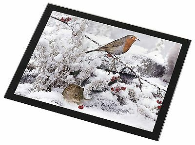 Snow Mouse and Robin Print Black Rim Glass Placemat Animal Table Gift, AMO-5GP