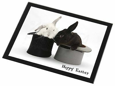 Top Hat Rabbits 'Happy Easter' Black Rim Glass Placemat Animal Table G, AR-7EAGP