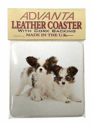 Papillon Dogs Single Leather Photo Coaster Animal Breed Gift, AD-PA65SC