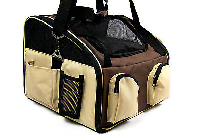 Small Pet Dog Cat Puppy Carrier Car Seat Travel Shoulder Hand Tote Bag Beige