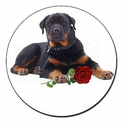 Rottweiler Dog with a Red Rose Fridge Magnet Stocking Filler Christma, AD-RW3RFM