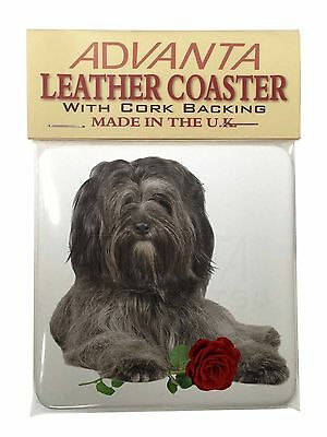 Tibetan Terrier with Red Rose Single Leather Photo Coaster Animal Bre, AD-TT2RSC