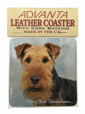 Welsh Terrier 'Love You Grandma' Single Leather Photo Coaster Anima, AD-WT1LYGSC