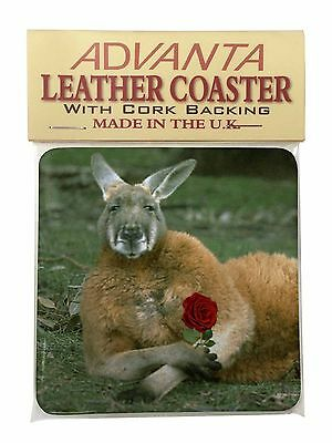 Kangaroo with Red Rose Single Leather Photo Coaster Animal Breed Gift, AK-1RSC