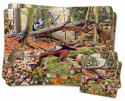 Woodland Forest Wildlife Animals Twin 2x Placemats+2x Coasters Set in G, AB-50PC