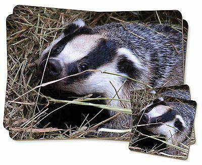 Badger in Straw Twin 2x Placemats+2x Coasters Set in Gift Box, ABA-1PC
