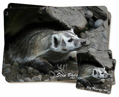 Badger-Stop Badgering Me! Twin 2x Placemats+2x Coasters Set in Gift Box, ABA-3PC