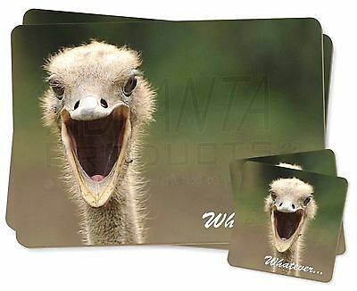 Ostritch with 'Whatever' Twin 2x Placemats+2x Coasters Set in Gift Box, AB-OS2PC