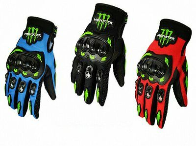 Gants Noir et Orange - MONSTER Armure Moto Course Racing Motocross VTT Quad