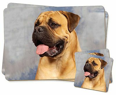 Bullmastiff Dog Twin 2x Placemats+2x Coasters Set in Gift Box, AD-BMT1PC
