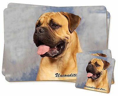 Bullmastiff Dog-With Love Twin 2x Placemats+2x Coasters Set in Gift , AD-BMT1uPC
