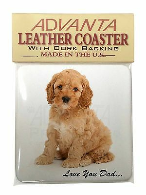 Cockerpoodle 'Love You Dad' Single Leather Photo Coaster Animal Breed , DAD-19SC