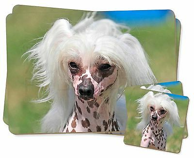 Chinese Crested Dog Twin 2x Placemats+2x Coasters Set in Gift Box, AD-CHC4PC