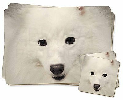 Japanese Spitz Dog Twin 2x Placemats+2x Coasters Set in Gift Box, AD-JS1PC