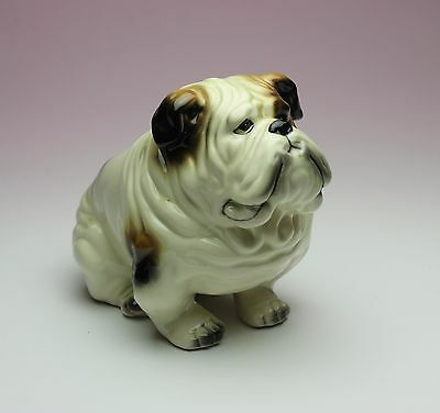 Tri Colored Sitting English Bulldog Caricatured Grumpy Dog Porcelain Figurine