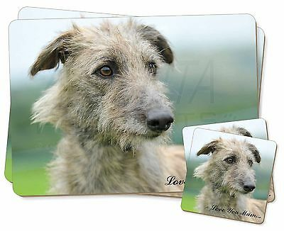 Rough Coated Lurcher 'Love You Mum' Twin 2x Placemats+2x Coasters S, AD-LU6lymPC