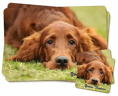 Red Setter Dog 'Yours Forever' Twin 2x Placemats+2x Coasters Set in G, AD-RS2YPC