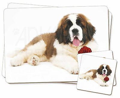St. Bernard Dod with Red Rose Twin 2x Placemats+2x Coasters Set in G, AD-SBE5RPC