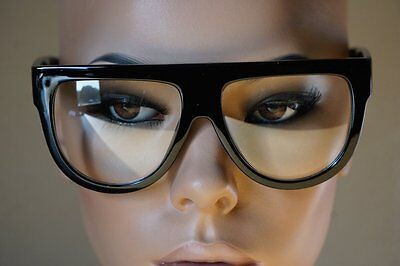 CLASSIC VINTAGE RETRO Style Clear Lens EYE GLASSES Flat Top Thick Black Frame