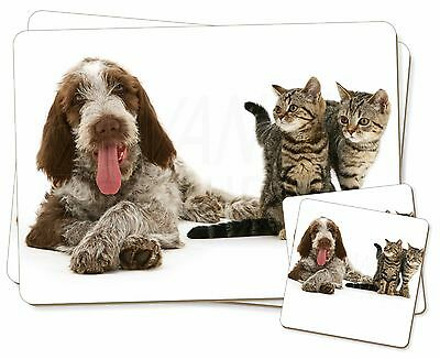 Italian Spinone Dog and Kittens Twin 2x Placemats+2x Coasters Set in G, AD-SP1PC