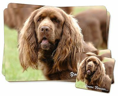 Sussex Spaniel 'Yours Forever' Twin 2x Placemats+2x Coasters Set in , AD-SUS1YPC
