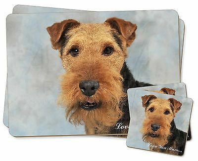 Welsh Terrier Dog 'Love You Mum' Twin 2x Placemats+2x Coasters Set , AD-WT1lymPC