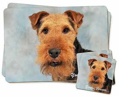 Welsh Terrier 'Yours Forever' Twin 2x Placemats+2x Coasters Set in Gi, AD-WT1YPC