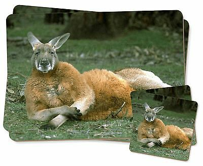 Cheeky Kangaroo Twin 2x Placemats+2x Coasters Set in Gift Box, AK-1PC