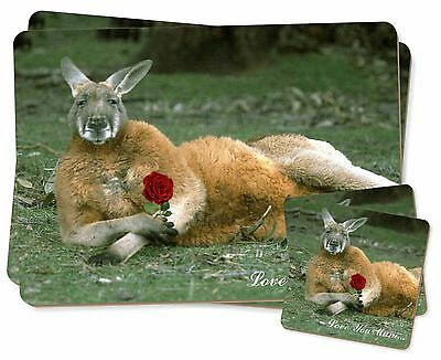 Kangaroo+Rose 'Love You Mum' Twin 2x Placemats+2x Coasters Set in Gi, AK-1RlymPC