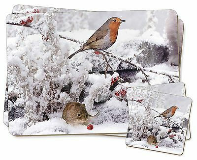 Snow Mouse and Robin Print Twin 2x Placemats+2x Coasters Set in Gift Bo, AMO-5PC