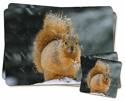 Red Squirrel in Snow Twin 2x Placemats+2x Coasters Set in Gift Box, AS-2PC