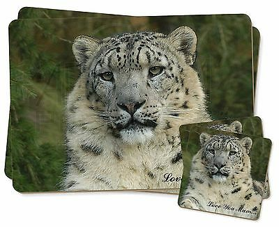 Snow Leopard 'Love You Mum' Twin 2x Placemats+2x Coasters Set in Gif, AT-47lymPC
