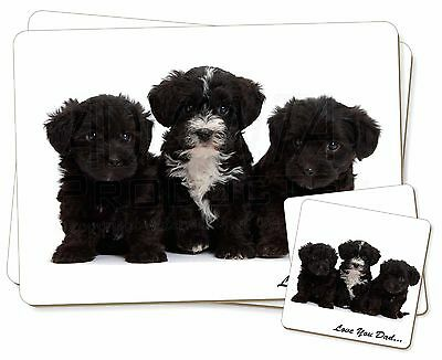 Yorkipoo Pups 'Love You Dad' Twin 2x Placemats+2x Coasters Set in Gif, DAD-139PC