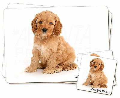 Cockerpoodle 'Love You Dad' Twin 2x Placemats+2x Coasters Set in Gift , DAD-19PC