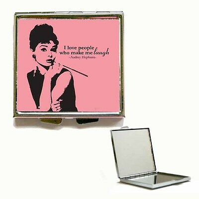New Heart / Square Audrey Hepburn Quote Compact Handbag Make Up Mirror Gift