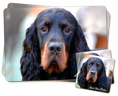 Gordon Setter 'Love You Dad' Twin 2x Placemats+2x Coasters Set in Gift, DAD-38PC