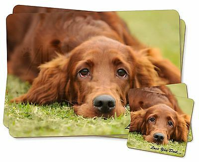 Red Setter Dpg 'Love You Dad' Twin 2x Placemats+2x Coasters Set in Gif, DAD-93PC